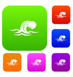 Foamy wave set collection vector