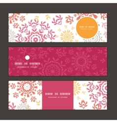 Folk floral circles abstract horizontal vector