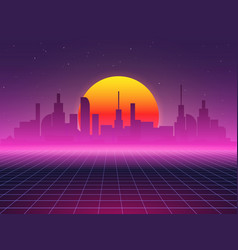 futuristic background city landscape vector image