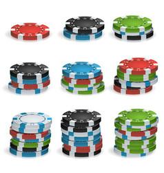 Gambling chips stacks 3d realistic poker vector
