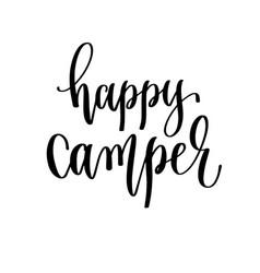 Happy camper - travel lettering inscription vector