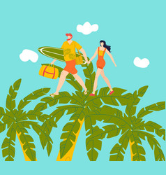 happy couple on vacation walking on tropical palms vector image