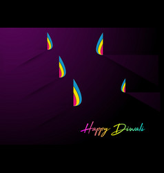 happy diwali celebration in paper cut design vector image