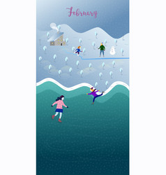 happy parents and children play outside in winter vector image