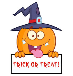 happy witch pumpkin over a blank sign with text vector image