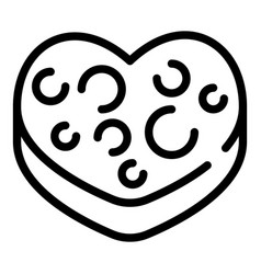 heart biscuit icon outline style vector image