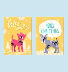Hello winter and merry christmas cards with dogs vector