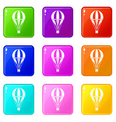 Hot air striped balloon icons 9 set vector