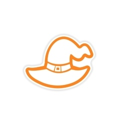 Icon sticker realistic design on paper Witch hat vector