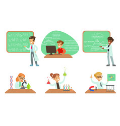 Kids doing science research in school science vector