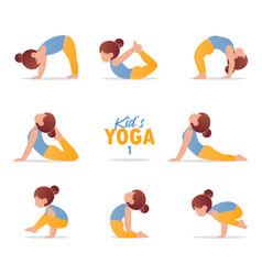 kids yoga set gymnastics for children vector image