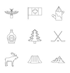 landmarks of canada icon set outline style vector image