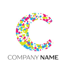 Letter c logo with blue yellow red particles vector