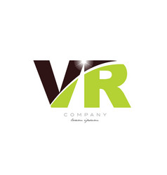 Letter vr v r alphabet combination in green and vector