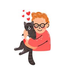 little man hugging kitten vector image