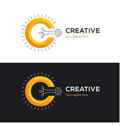 logo with letter c and light bulb vector image