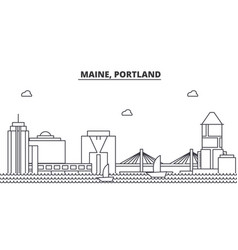 Maine portland architecture line skyline vector