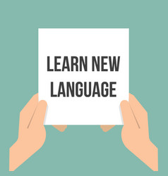 Man showing paper learn new language vector