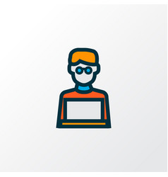 man with laptop icon colored line symbol premium vector image