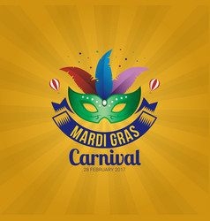 mardi gras mask holidays poster template vector image