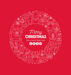 merry christmas greeting text wreath circle vector image