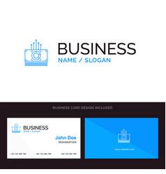 Money bundle bucks transfer blue business logo vector