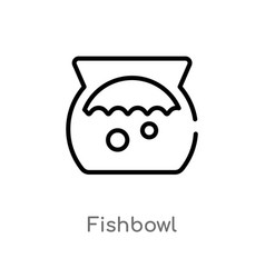 outline fishbowl icon isolated black simple line vector image