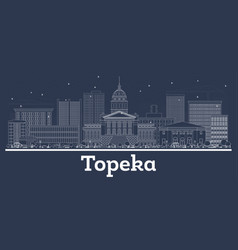 outline topeka kansas usa city skyline with white vector image