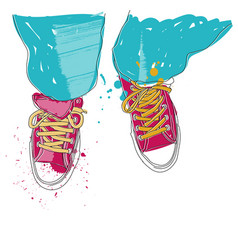 pair of sneakers vector image