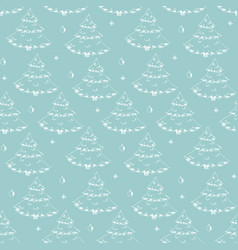 pattern with cute hand drawn sketchy firs vector image