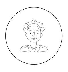 policeman icon in outline style isolated on white vector image