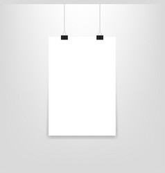 poster hanging paper in mockup style vector image