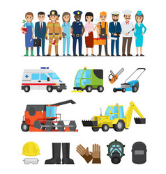 Profession representatives and equipments set vector