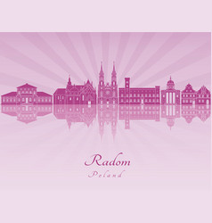 Radom skyline in purple radiant orchid vector
