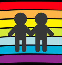 Rainbow flag backdrop lgbt gay symbol two boy vector