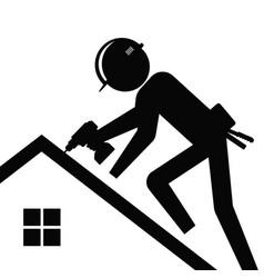 Roofer silhouette repairing roa house vector