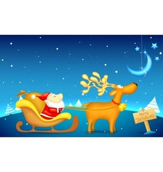 Santa Claus riding in sledge on Christmas vector