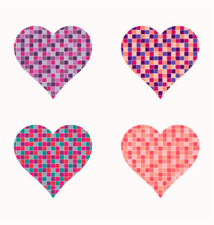 set colorful hearts vector image