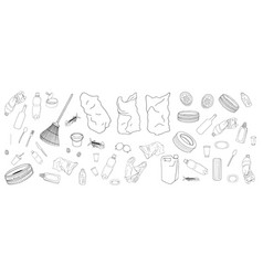 Set of garbage and bags isolate on white vector