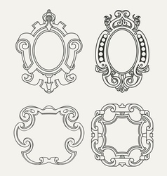 Set of vintage frames design elements vector