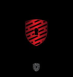 Shield security logo abstract tech style co vector