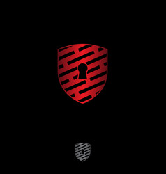 shield security logo abstract tech style co vector image