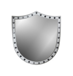Silver shield shape icon 3d gray emblem sign vector