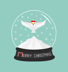 snowy white owl red santa hat flying bird big vector image