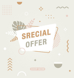 special offer modern banner in memphis style vector image