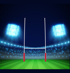 Stadium with lights and ruggoal eps 10 vector