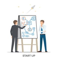 start up and rocket white vector image