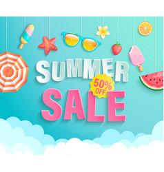 summer 2020 sale banner wih hot season elements vector image