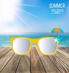 Summer holiday background Sunglassess on wood vector
