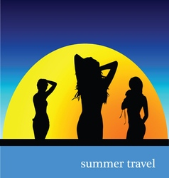 summer travel with girl vector image